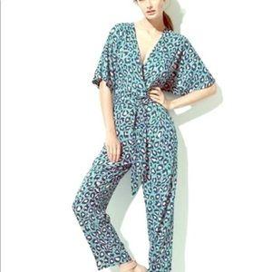 H&M leopard print belted jumpsuit